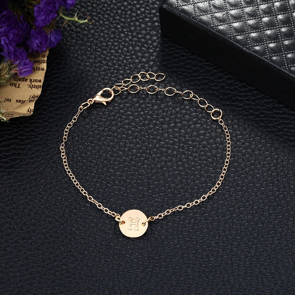 Simple Tiny Initial Gold 26 Letter Bracelet & Bangle for Women Adjustable Circle Name Bracelets Jewelry Female Friendship Gift Bracelets Women Girl (with Card)
