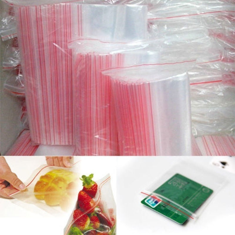100 Pcs/Pack Multi Size Reclosable PE Pouch Packaging Zipper Ziplock Bag Poly Clear Plastic Jewelry Zip Bags