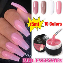 Load image into Gallery viewer, 15ml Hot Pink White Clear UV Lamp Use Women Fashion Nail Extension Builder Gel French Manicure 3D Crystal Jelly Nail Art Extend Glue
