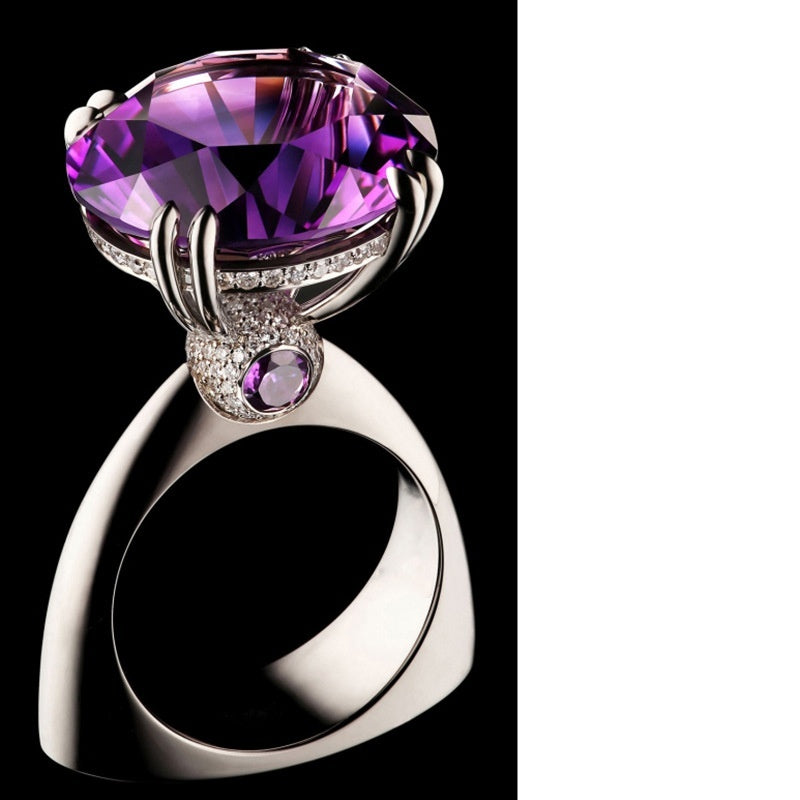 Exquisite luxury design women's fashion jewelry 925 sterling silver inlaid natural gemstone purple diamond ring Europe and the United States engagement wedding ring anniversary gift jewelry size US5-11