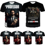 3D Print T Shirt Men Funny Design La Casa De Papel T Shirt Money Heist Tees TV Series Top Tee