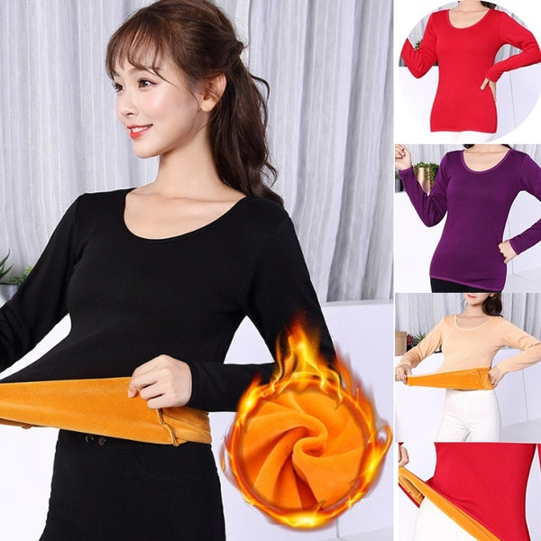 Women Winter Pullovers Thermal Underwear Tops  Pajamas Thermos Velvet shirts