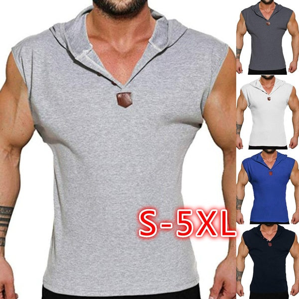 2019 Men's Casual Loose Fashion Hooded Button Vest V-neck Fitness Deep Training Summer Tank Top Solid Color Sports Vest Sleeveless T-shirt Bodycon Slim Fit Pullover Plus Size S-5XL 5 Color