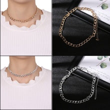 Load image into Gallery viewer, 1 PC Fashion  Link Chain Choker Necklace For Women Gold Silver Handmade Cool Metal Chain Collar