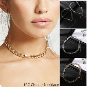 1 PC Fashion  Link Chain Choker Necklace For Women Gold Silver Handmade Cool Metal Chain Collar