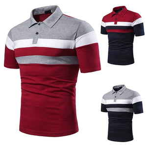 2019 New Short-sleeved Striped Color Matching Fashion Men's Lapel Short-sleeved Polo Shirt.