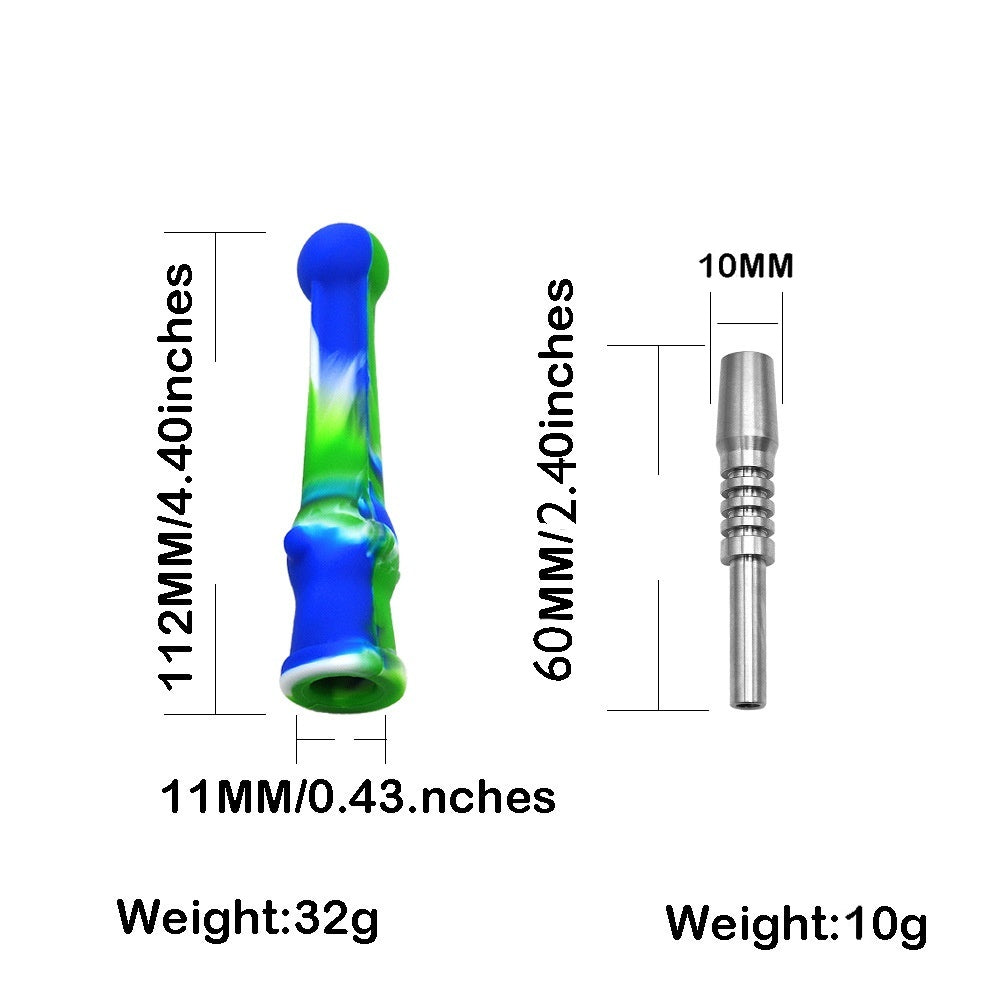Mini Silicone Nectar Collector Dab Pipe 10mm Titanium tip