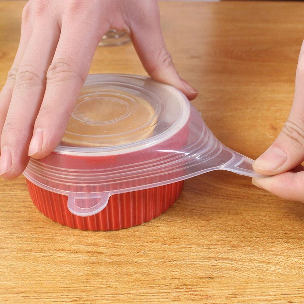 1/6/12Pcs Reusable Heat Resistant Silicone Stretch Lids Food Wrap Bowl Pot Pan Cover Food Fresh Keeping Wrap