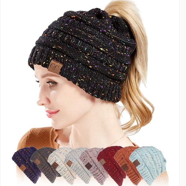 Fashion Women Winter Knitted Wool Cap Folds Casual Hat Solid Color Hip-Hop Hat Knitted Ponytail Cap Woolen Caps for Outdoor Warmth