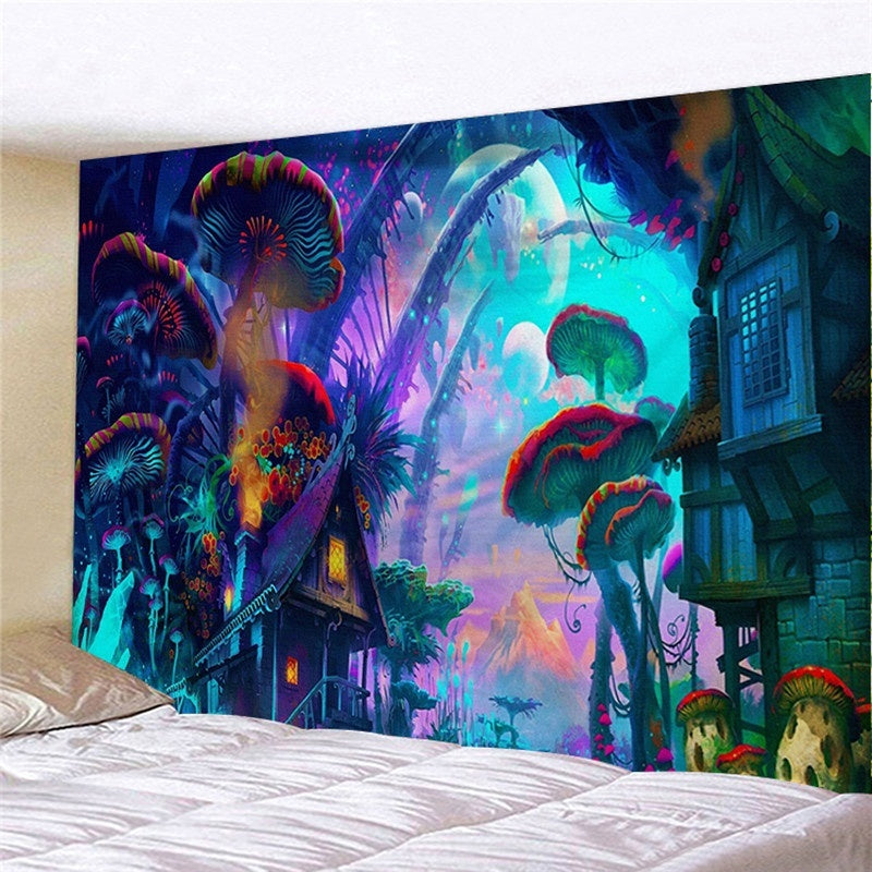 Fairytale Mushroom World Tapestry Wall Hanging Art Print Wall Hanging Tapestry Room Decoration Wall Tapestry