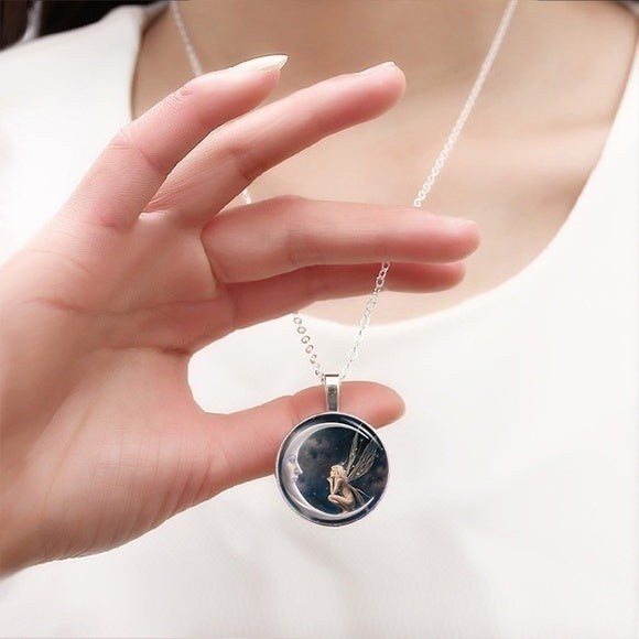 Hadas Goticas Angel on Moon Art Photo Tibet Silver Cabochon Glass Pendant Chain Necklace