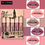 1set 5 Colors Matte Lip Glaze Box Set Lipgloss Lipstick Non-stick Cup Nude Pumpkin Color