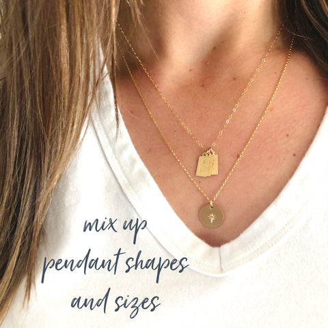 How to layer necklaces. Necklaces designed by Sarah Cornwell Jewelry, Sarah Cornwell