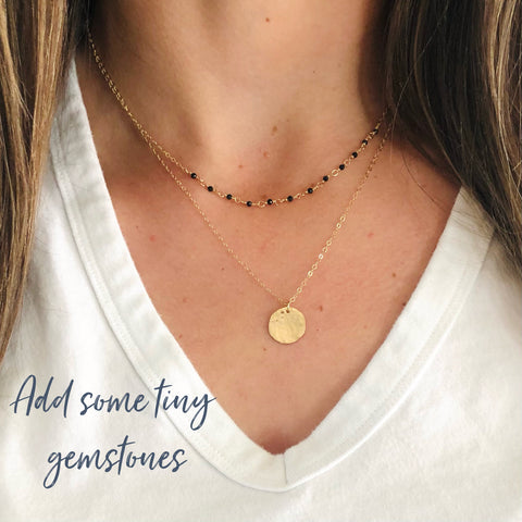 Layering Gold Necklace with tiny Sapphires designed by Sarah Cornwell Jewelry, Sarah Cornwell