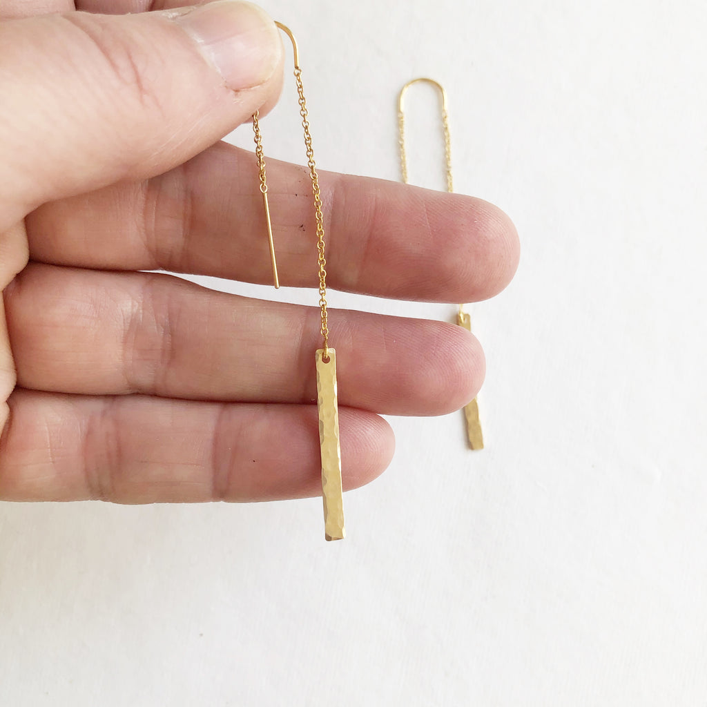 Long Dangle Hammered Earrings