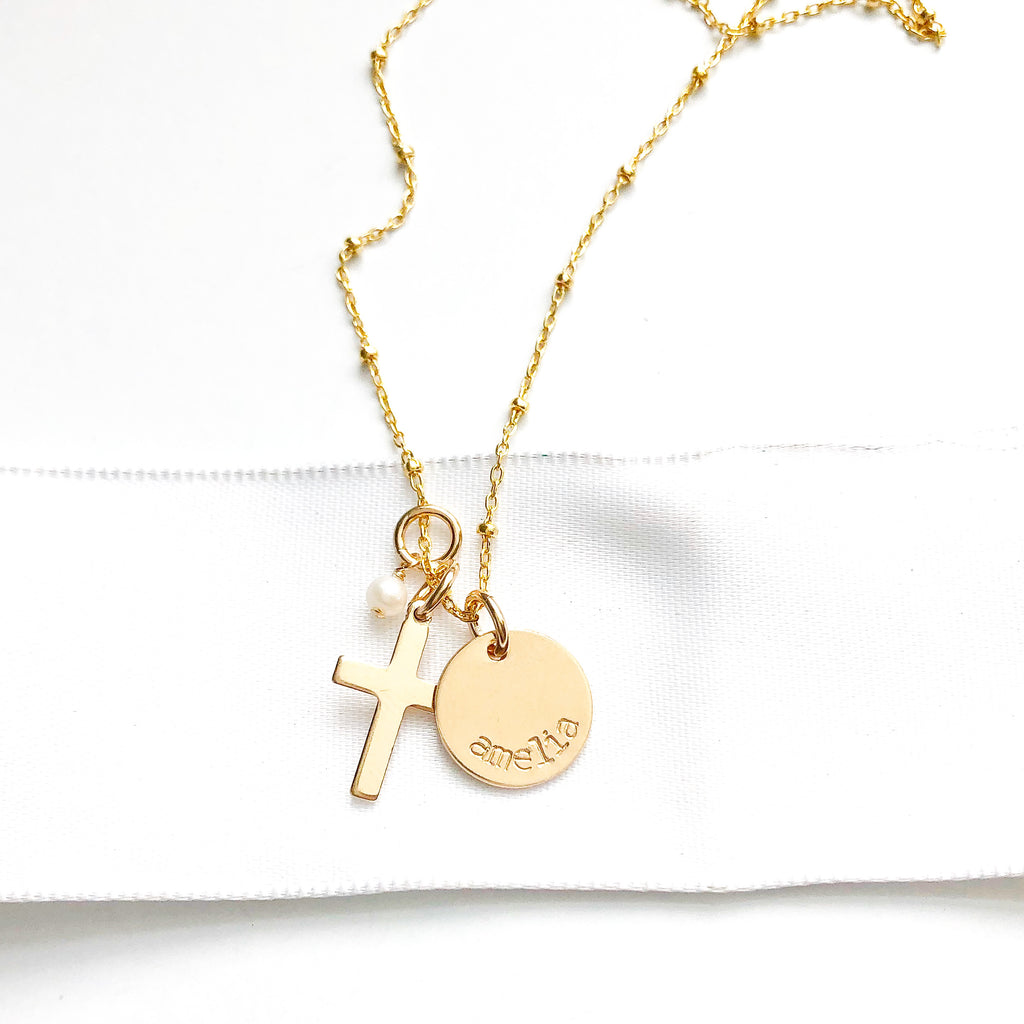 Gold Name, Cross, & Pearl Necklace