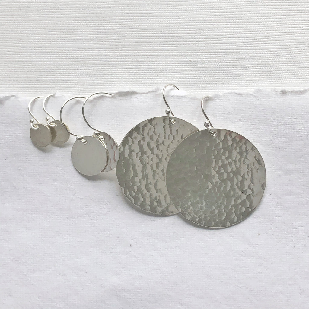 Hammered Silver Earrings