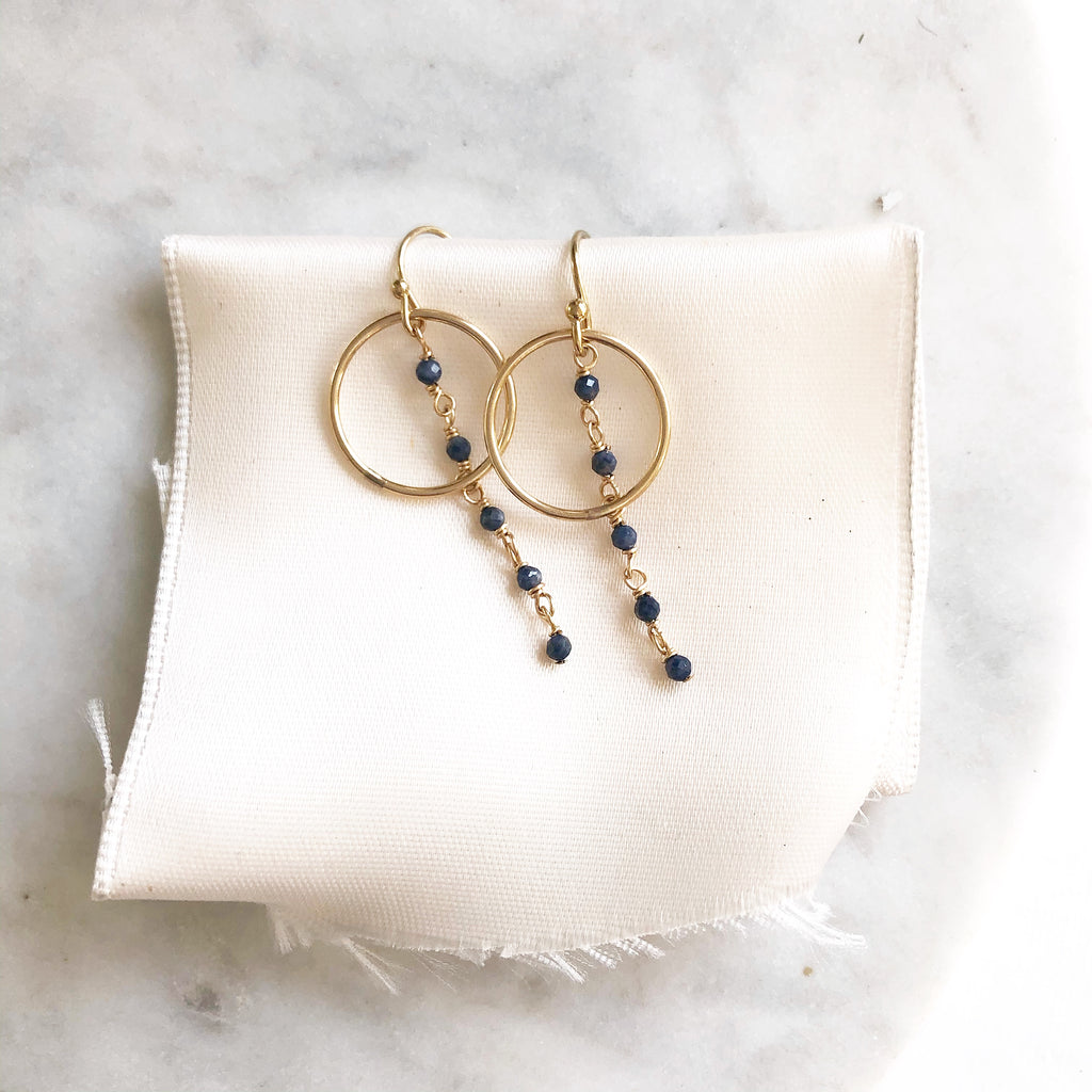 Small Hoop Sapphire Earrings