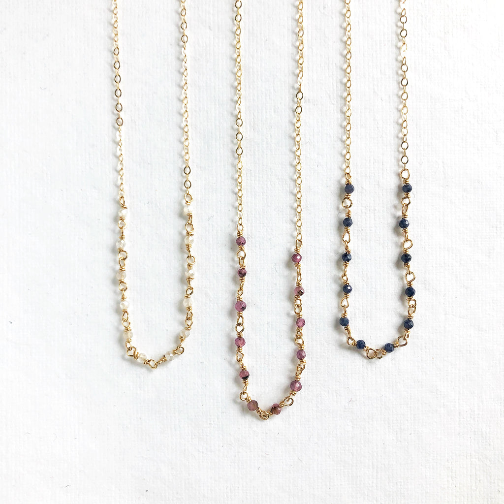 Dainty Gold Gemstone Necklace
