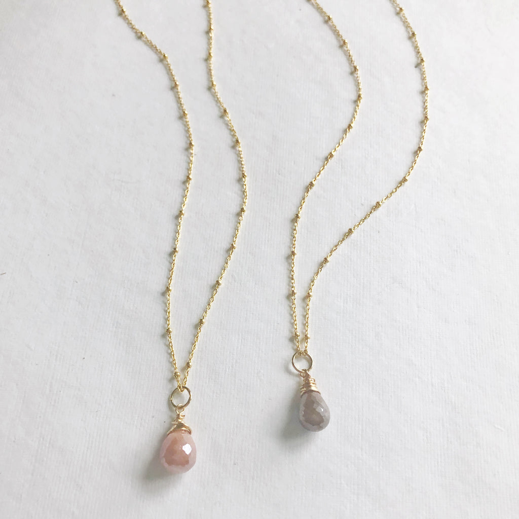 Single Drop Gemstone Necklace