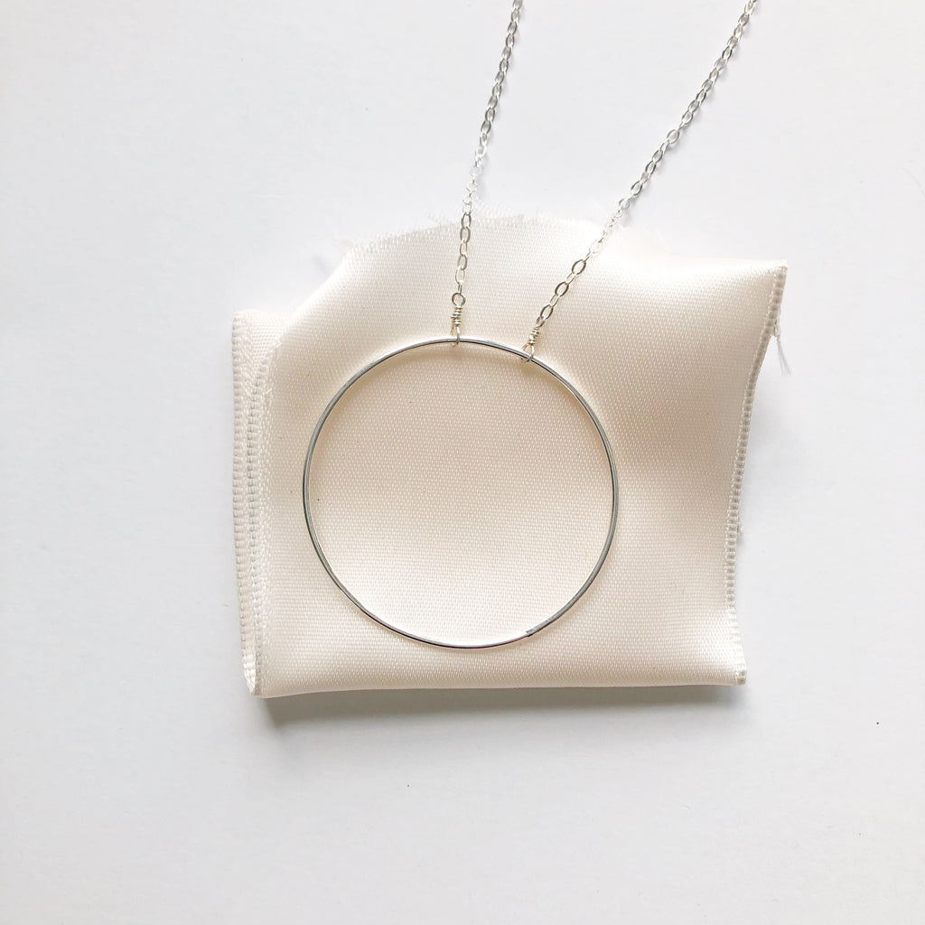 Large Silver Hoop Necklace