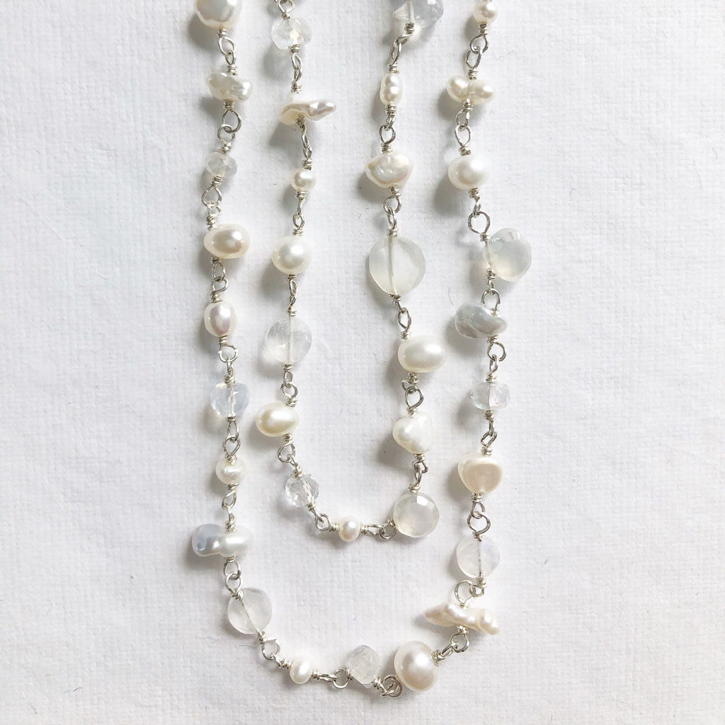 White Pearl and Gemstone Necklace