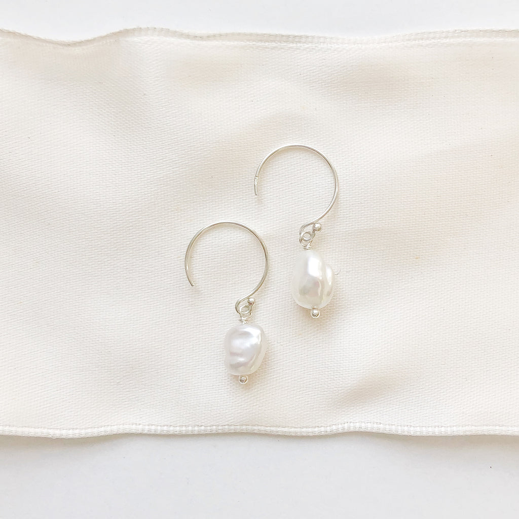 Pearl Earrings with silver hoop