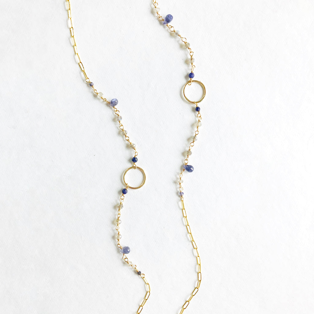 Delicate Long gemstone necklace