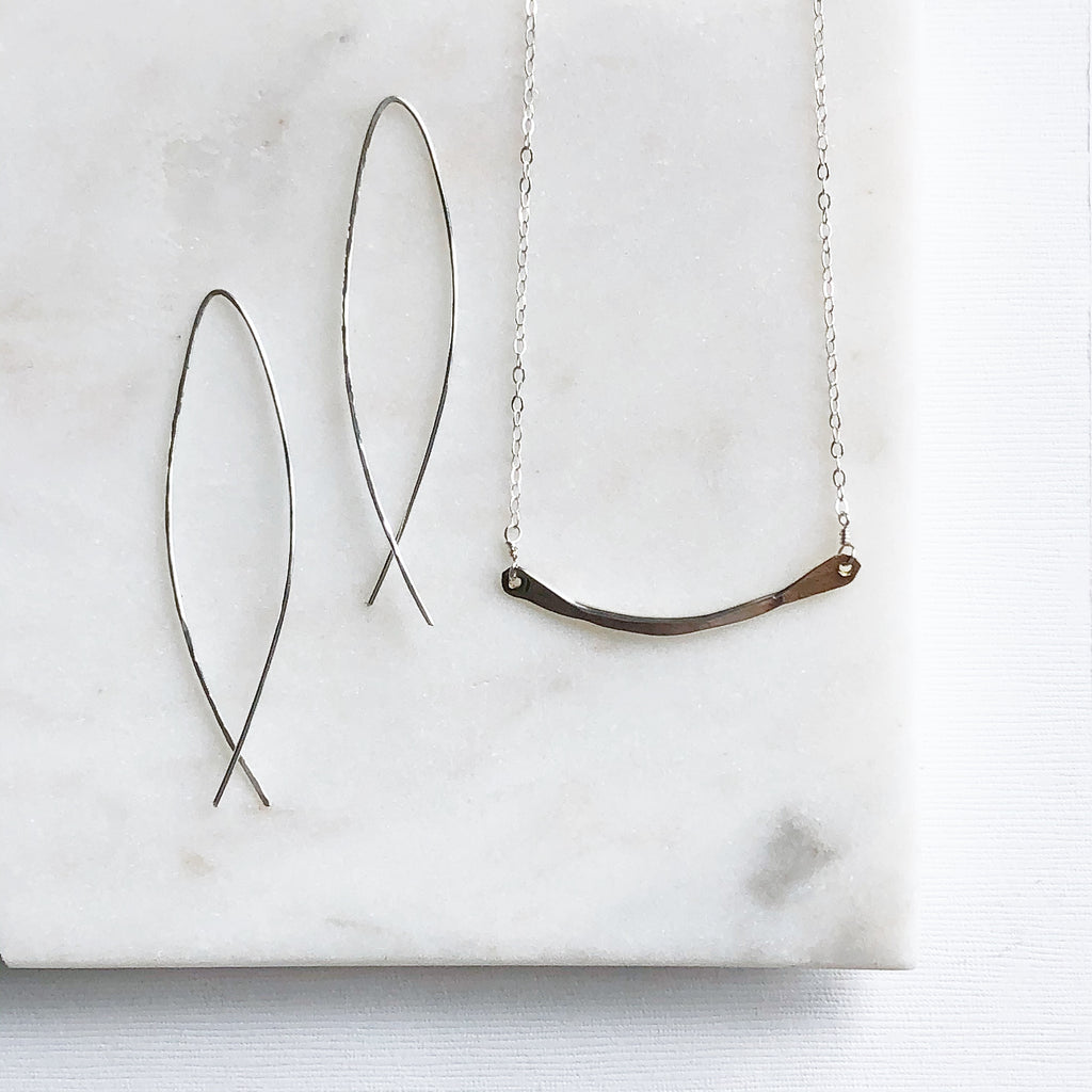 Hammered Statement Earrings & Hammered Necklace