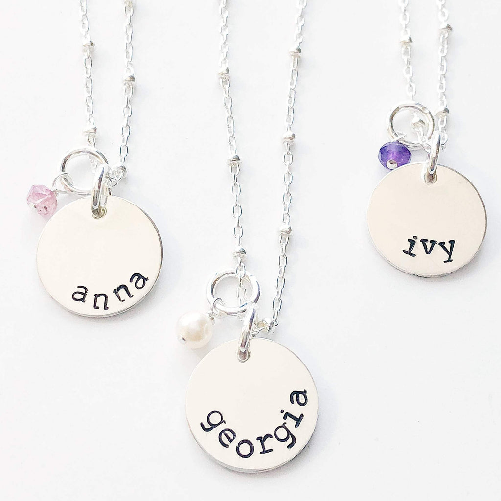 Stamped necklace for little girl