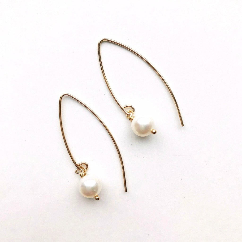 Gold White Pearl Earrings