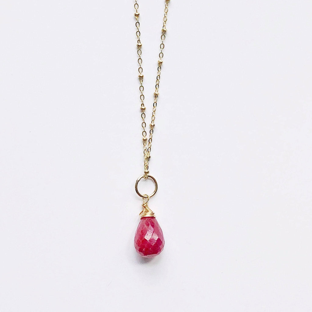 Long Gold Ruby Necklace
