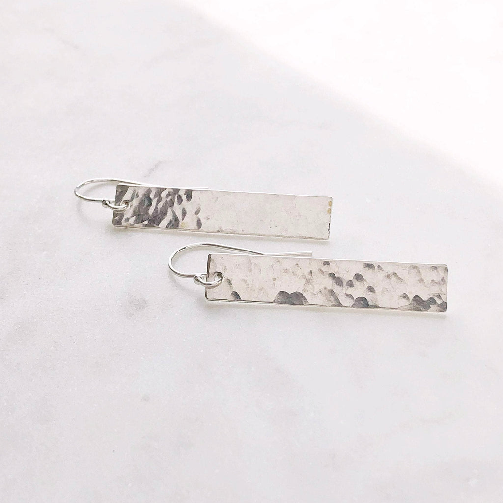 Silver Hammered Statement Earring