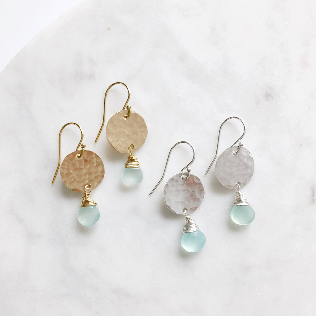 Silver Earrings with Gemstone