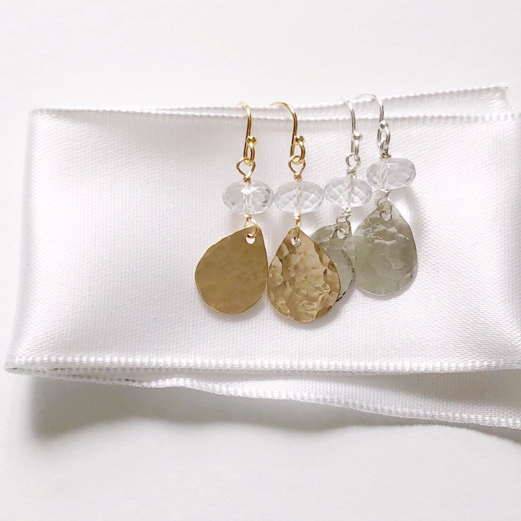 Harvest Moon and White Topaz Earrings