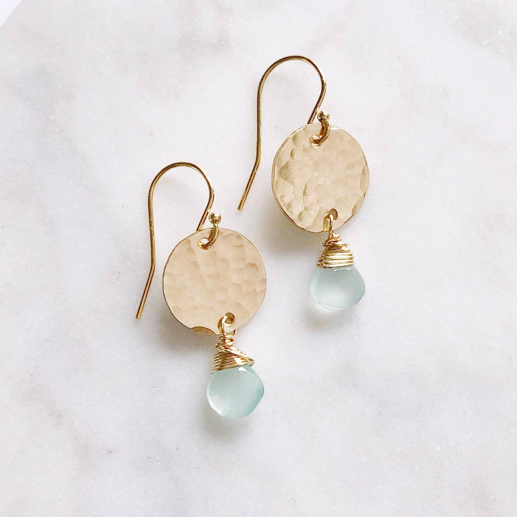 Aqua Earrings with Gemstone