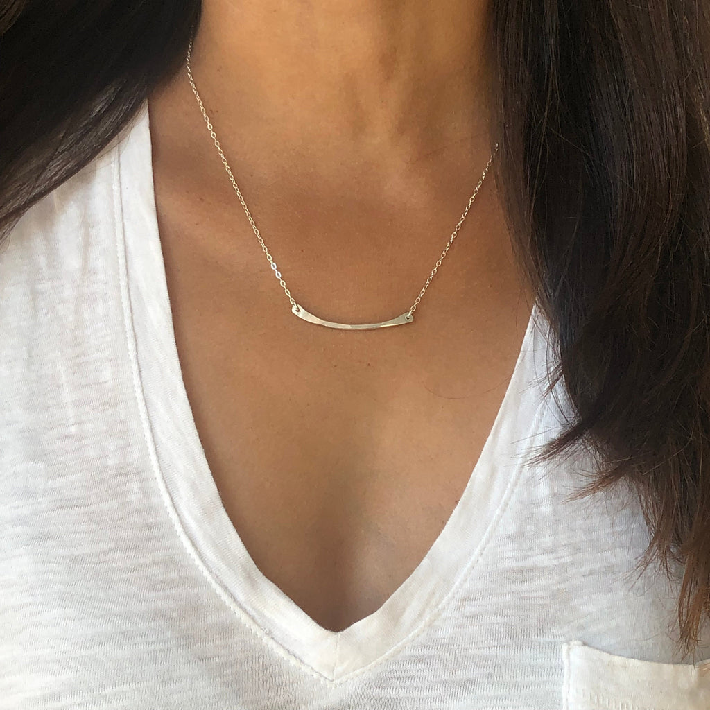 Silver Hammered Bar Necklace