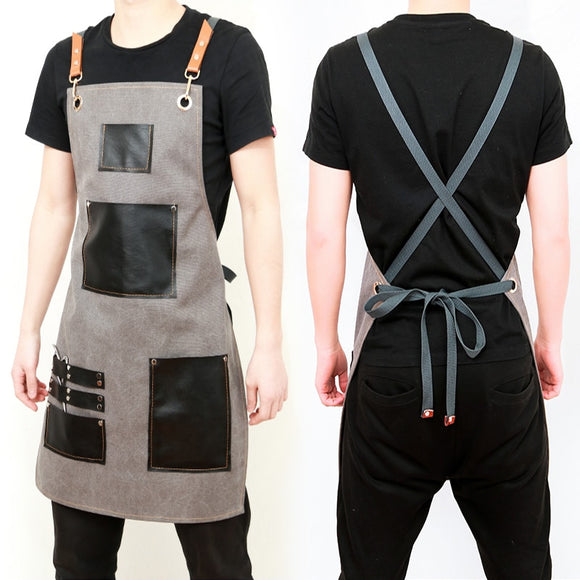 2019 Aprons Canvas Leather Unisex Adult Aprons for Woman Men Male Kitchen Chef Waiter Cafe barber Cooking Pinafores Logo Gift