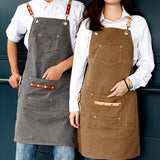 Khaki Gray Canvas Apron Cotton Straps Barber Hairdresser Florist Gardener Work Wear Barista Bartender Chef Waitstaff Uniform D72