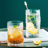 MDZF SWEETHOME Crystal Clear Drinking Glasses for Water, Juice, Whisky Wine Beverages Dessert Milk Cup Tree Pattern Cup