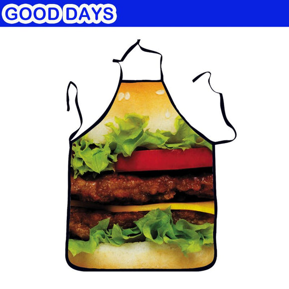 Big Hamburger Fried Chicken Waiter Waitress Funny Apron Christmas New Year Party  Bar Restaurant Apron Outdoor Barbecue Apron