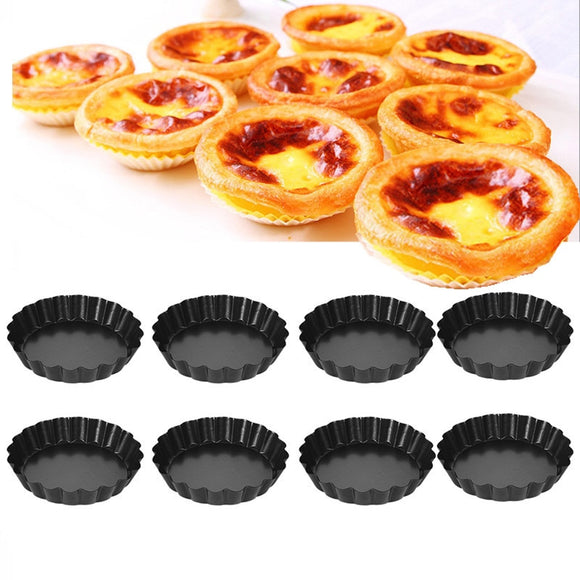 2/4/8 pcs Non-Stick Tart Quiche Flan Pan Molds Pie Pizza Cake Mold Removable Loose Bottom Fluted Heavy Duty Pizza Pan Bakeware
