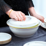 60 Heads jingdezhen ceramics chinese dishes European style dishes set Tableware Rice Bowl Salad Noodles Bowl Dinnerware Sets
