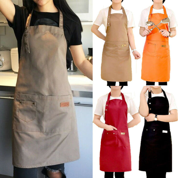 2019 New Canvas Apron for Women Outsides BBQ Senior Bib Kitchen Cleaning Apron Men Cooking Restaurant Waitress Custom Print