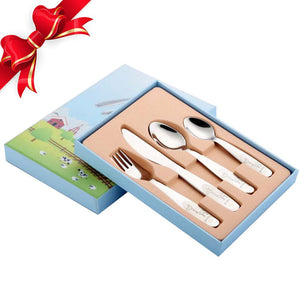 1lot/4 piece Kids Cutlery Set 18/10(304) Stainless Steel Cartoon Lovely Knife Fork Dinner Sets Children Flat ware Tableware Set