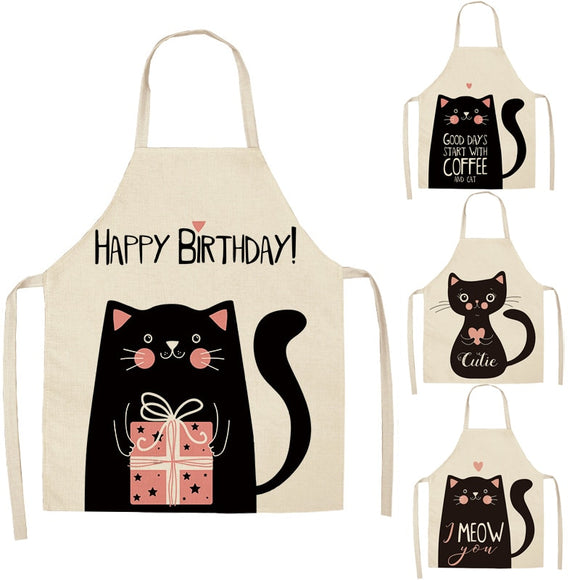 1 Pcs Kitchen Apron Funny Black Cat Printed Sleeveless Cotton Linen Aprons for Men Women Home Cleaning Tools