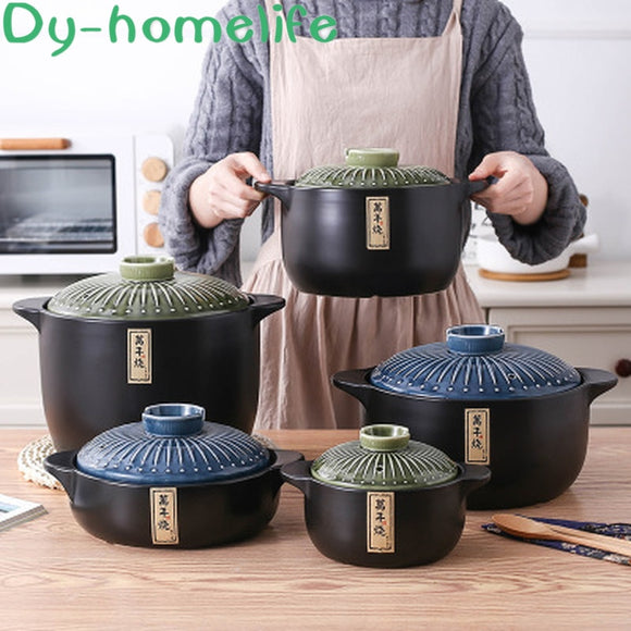 Ceramic Casserole Japanese Multi-size Spodumene Health Soup Pot Stew Pot Open Flame Heat-resistant Home Kitchen Supplies
