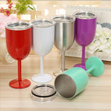 Stainless Steel Goblet Red Wine Cup Car Auto Cup Double Layer Cocktail Durable Glass Goblet Lid Drinking Ware Glass Cup Party