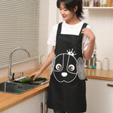 Cute Cartoon Dog Pattern Apron For Women Home Cooking Side Wipes Apron Waterproof Oil Proof Pocket Apron Kitchen Tool