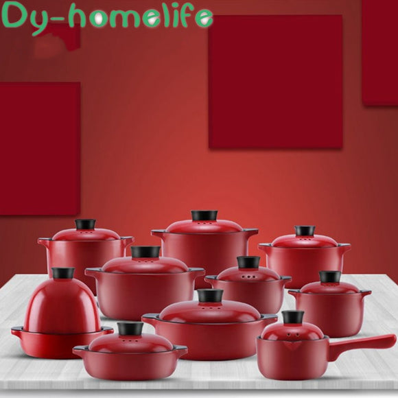 Ceramic Casserole Multi-size Chinese Red Health High Soup Pot Stew Pot High Temperature Open Flame Home Kitchen Supplies